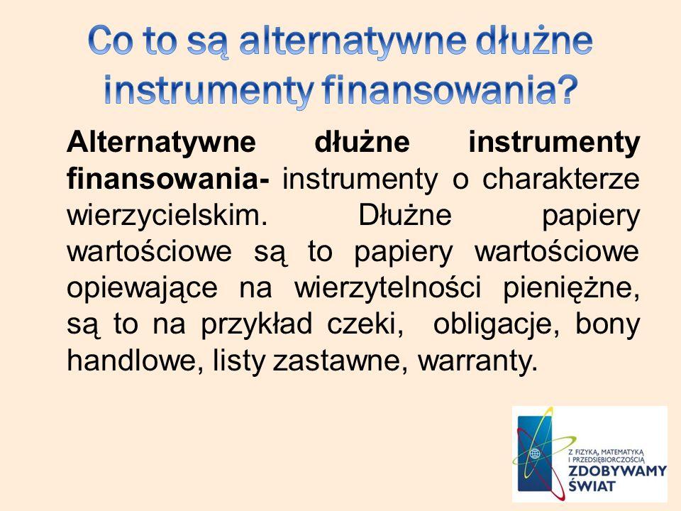 Co to są alternatywne dłużne instrumenty finansowania