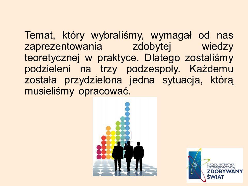 Temat, który wybraliśmy, wymagał od nas zaprezentowania zdobytej wiedzy teoretycznej w praktyce.