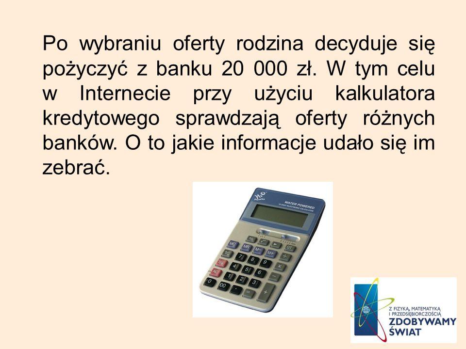 Po wybraniu oferty rodzina decyduje się pożyczyć z banku 20 000 zł