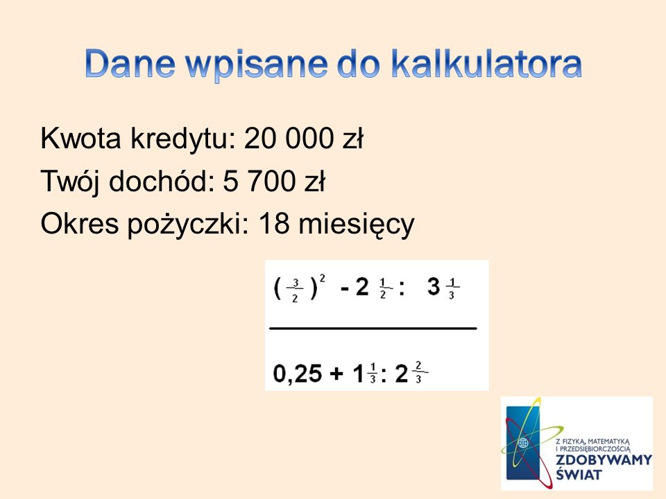 Dane wpisane do kalkulatora