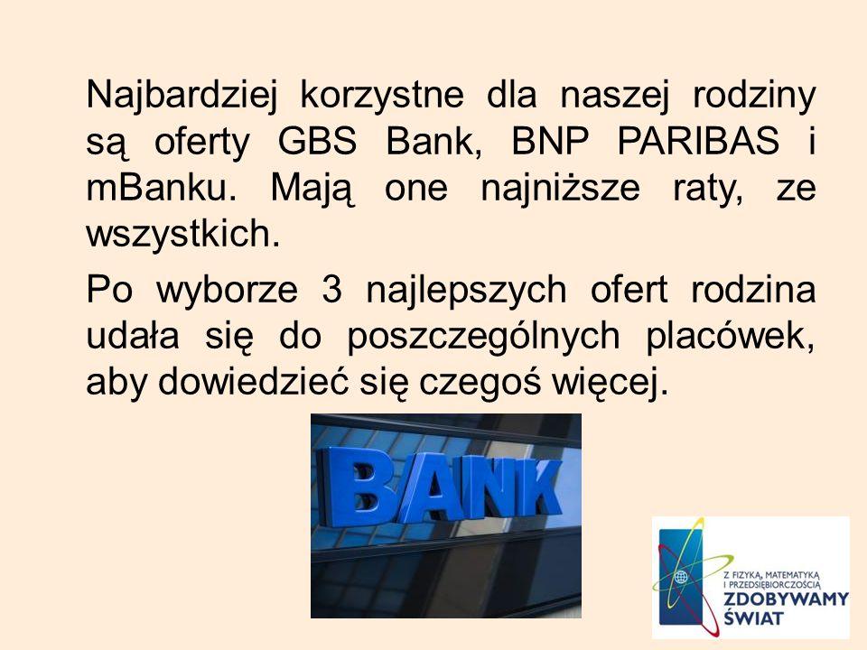 Najbardziej korzystne dla naszej rodziny są oferty GBS Bank, BNP PARIBAS i mBanku.