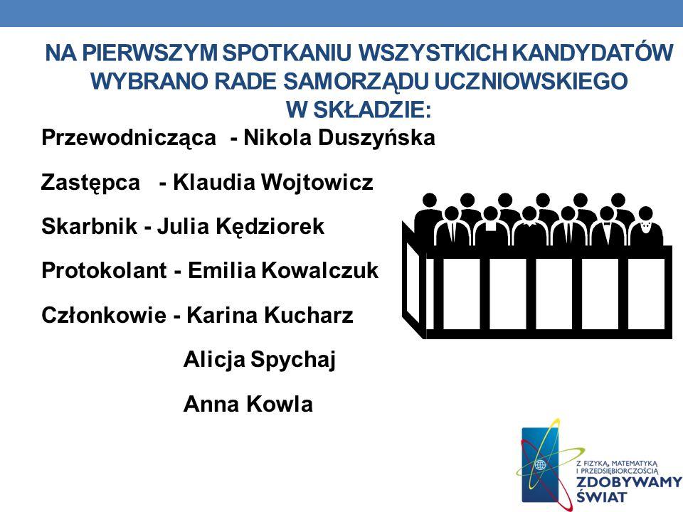 Na pierwszym spotkaniu wszystkich kandydatów wybrano Rade Samorządu Uczniowskiego w składzie: