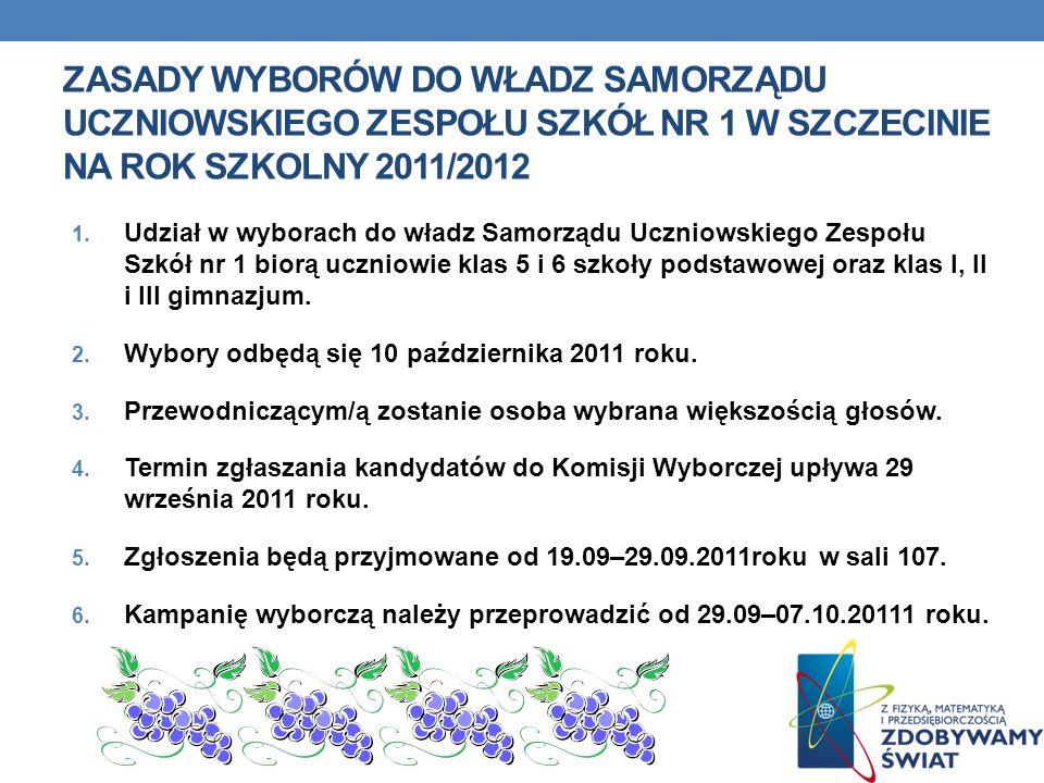 Zasady wyborów do władz Samorządu Uczniowskiego Zespołu Szkół nr 1 w Szczecinie na rok szkolny 2011/2012