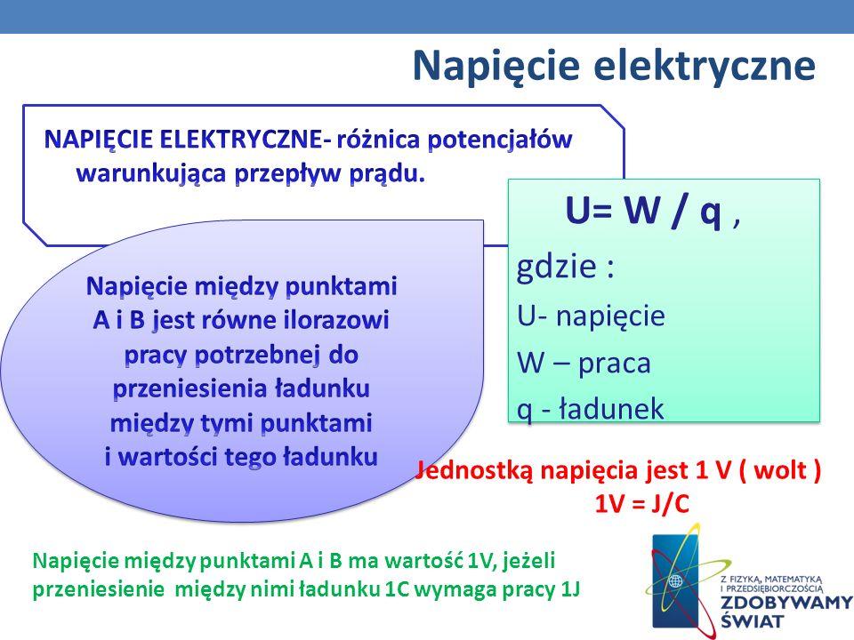 Napięcie elektryczne U= W / q , gdzie : U- napięcie W – praca