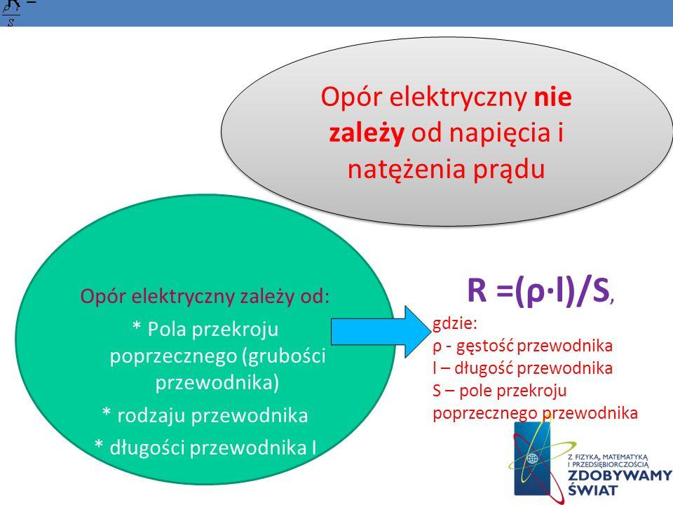 Opór elektryczny nie zależy od napięcia i natężenia prądu