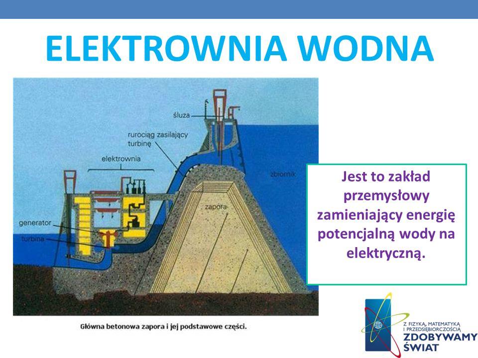 ELEKTROWNIA WODNA Jest to zakład przemysłowy zamieniający energię potencjalną wody na elektryczną.