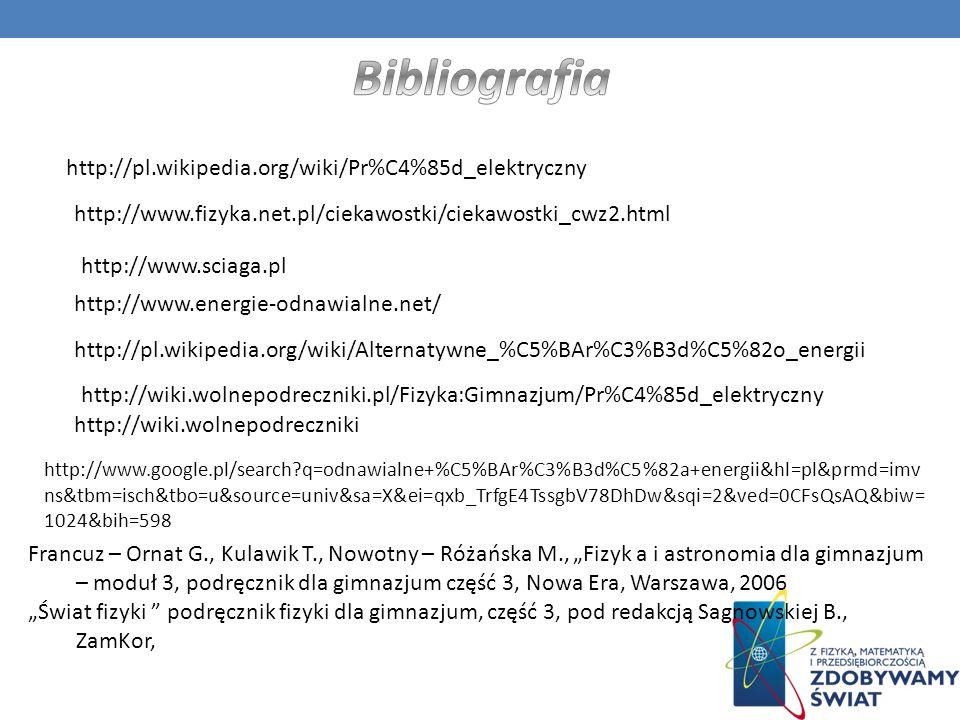 Bibliografia http://pl.wikipedia.org/wiki/Pr%C4%85d_elektryczny