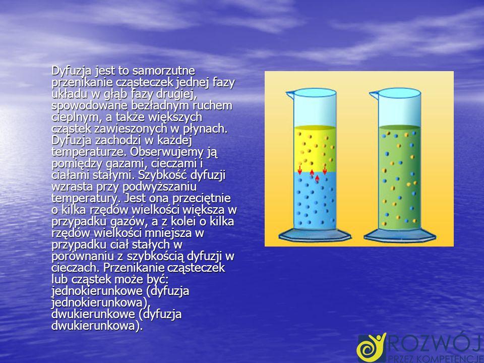 Dyfuzja jest to samorzutne przenikanie cząsteczek jednej fazy układu w głąb fazy drugiej, spowodowane bezładnym ruchem cieplnym, a także większych cząstek zawieszonych w płynach.