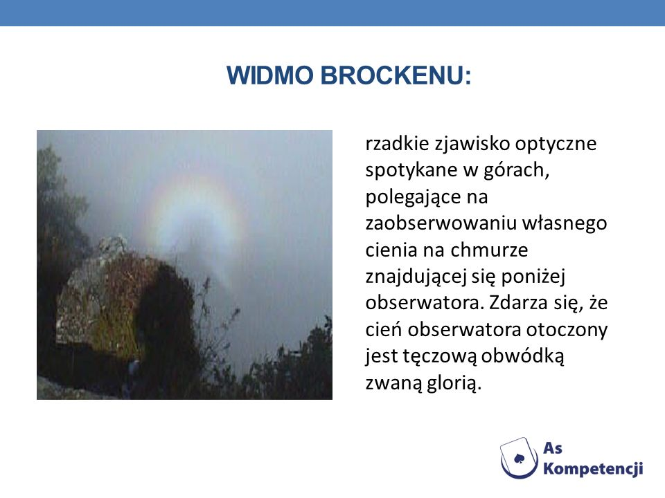Widmo Brockenu: rzadkie zjawisko optyczne spotykane w górach, polegające na zaobserwowaniu własnego.