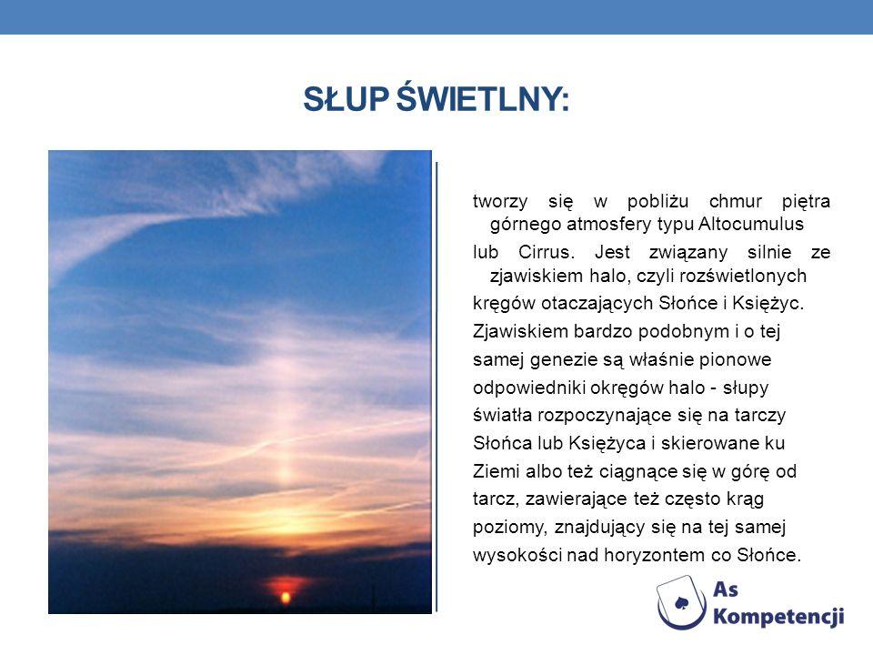 SŁUP ŚWIETLNY: tworzy się w pobliżu chmur piętra górnego atmosfery typu Altocumulus.