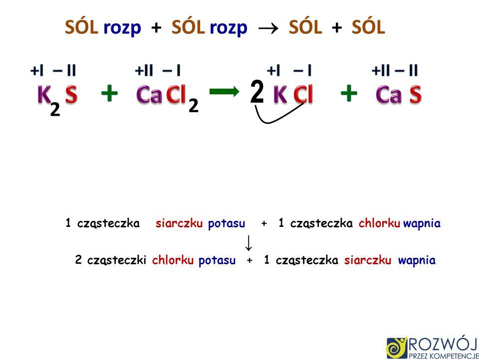 + + 2 K S Ca Cl K Cl Ca S SÓL rozp + SÓL rozp  SÓL + SÓL 2 2 +I – II
