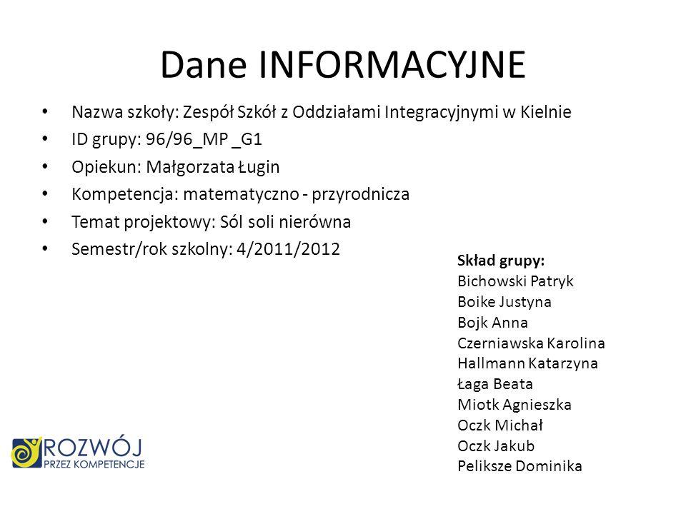 Dane INFORMACYJNE Nazwa szkoły: Zespół Szkół z Oddziałami Integracyjnymi w Kielnie. ID grupy: 96/96_MP _G1.