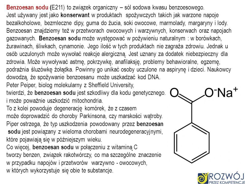 Benzoesan sodu (E211) to związek organiczny – sól sodowa kwasu benzoesowego.