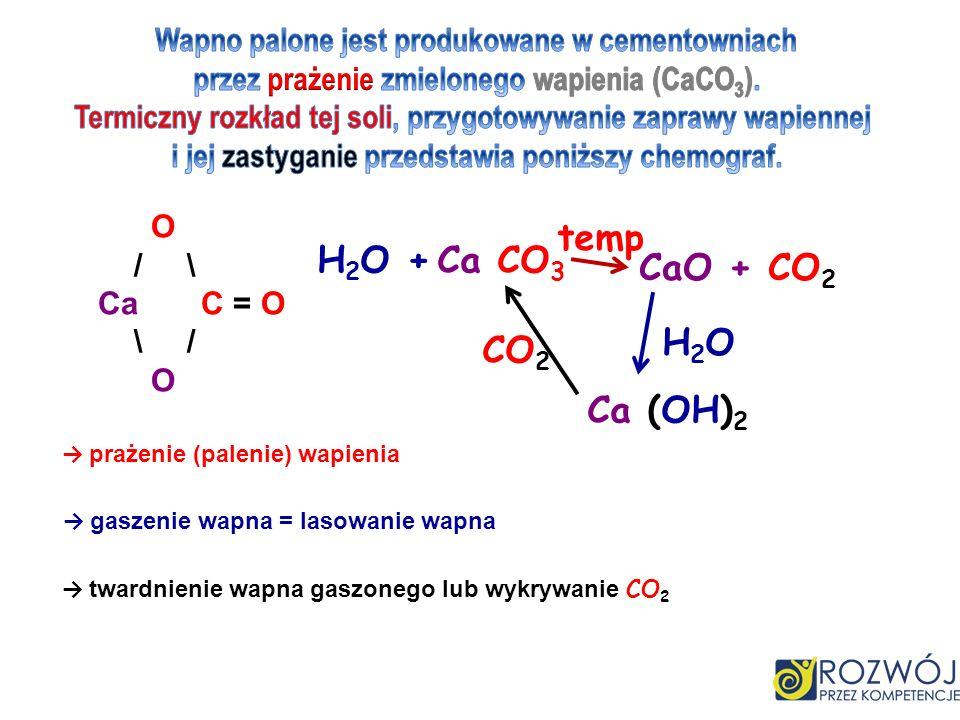 temp H2O + Ca CO3 CaO + CO2 H2O CO2 Ca (OH)2