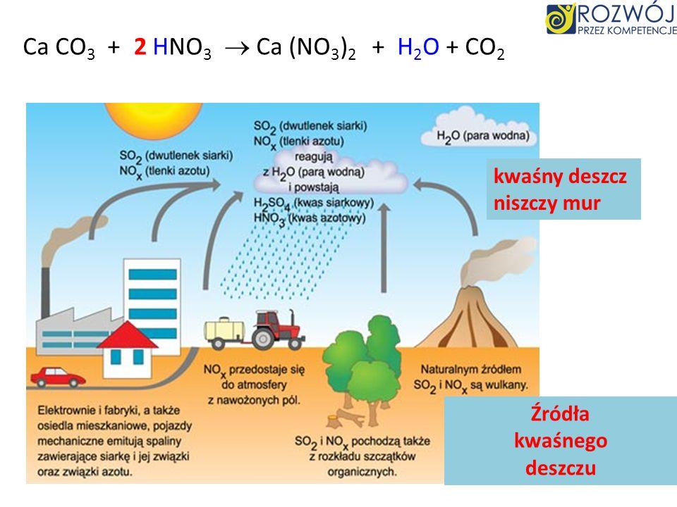 Ca CO3 + HNO3  Ca (NO3)2 2 + H2O + CO2 kwaśny deszcz niszczy mur