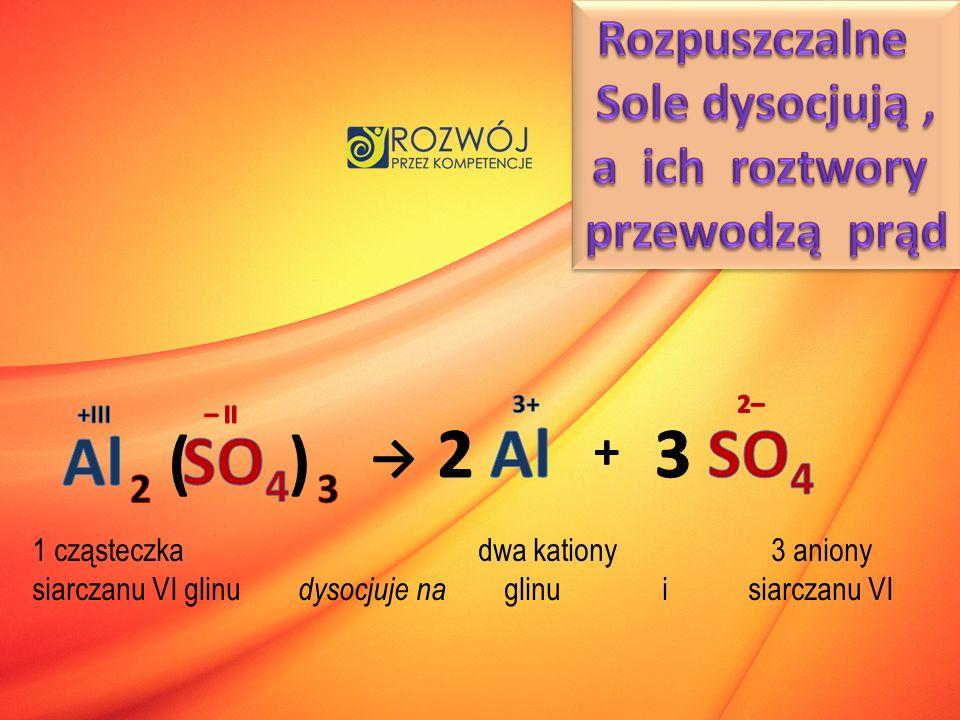 2 Al 3 SO4 Al ( ) SO4 Rozpuszczalne Sole dysocjują , a ich roztwory