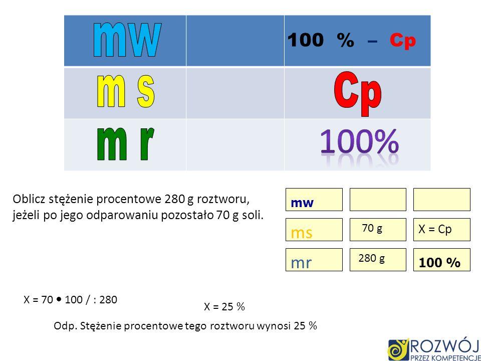 mw 100 % – Cp. Cp. m s. 100% m r. Oblicz stężenie procentowe 280 g roztworu, jeżeli po jego odparowaniu pozostało 70 g soli.