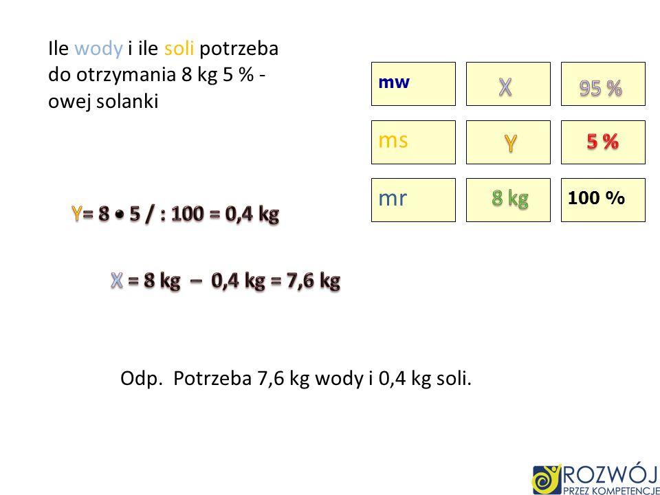 Ile wody i ile soli potrzeba do otrzymania 8 kg 5 % -owej solanki
