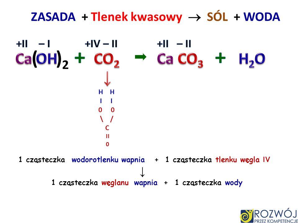 + + ( )2 Ca OH CO2 Ca CO3 H2O ↓ ZASADA + Tlenek kwasowy  SÓL + WODA