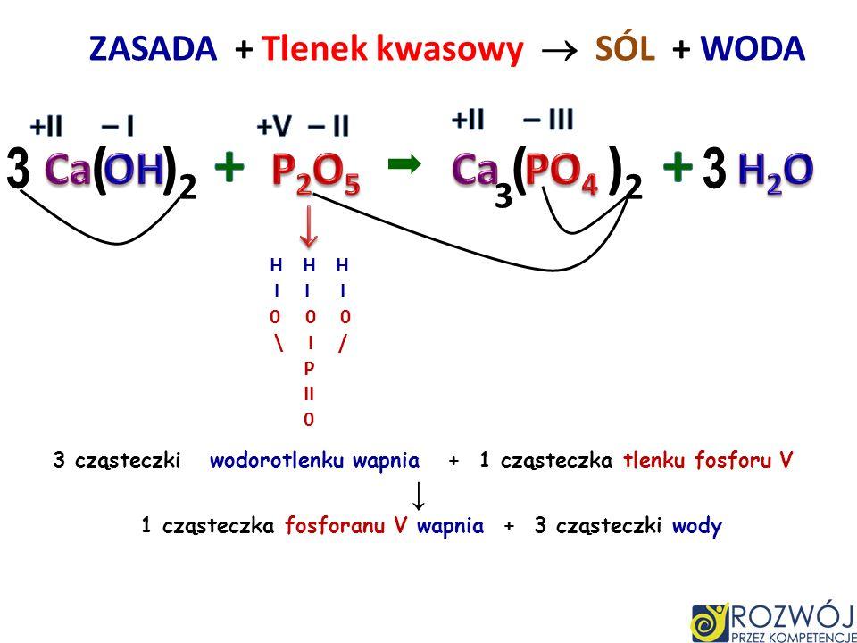 ZASADA + Tlenek kwasowy  SÓL + WODA