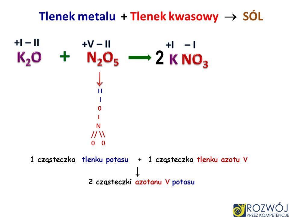 + 2 K2O N2O5 K NO3 ↓ Tlenek metalu + Tlenek kwasowy  SÓL +I – II