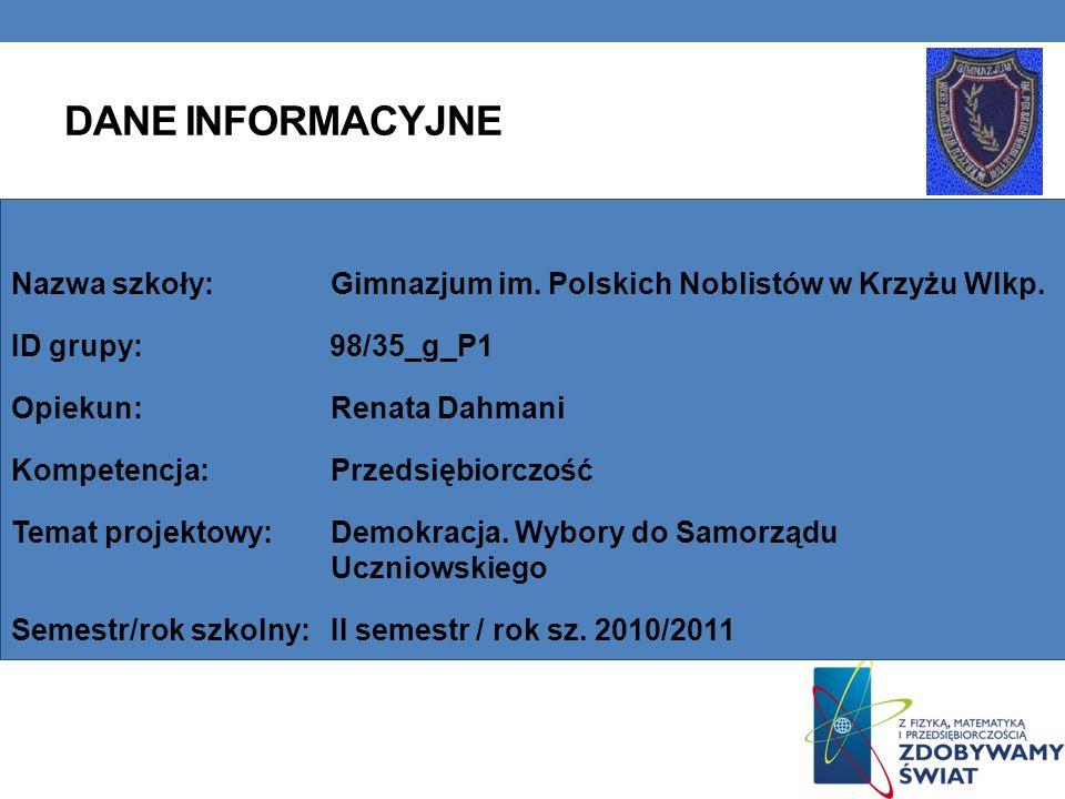 Dane INFORMACYJNE Nazwa szkoły: Gimnazjum im. Polskich Noblistów w Krzyżu Wlkp. ID grupy: 98/35_g_P1.