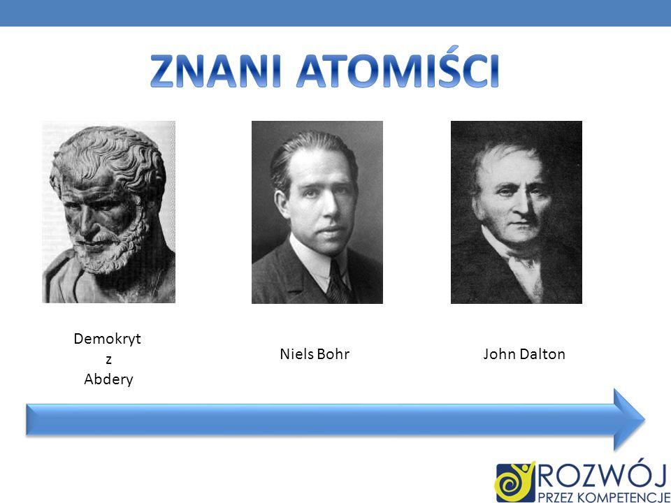 ZNANI ATOMIŚCI Demokryt z Abdery Niels Bohr John Dalton