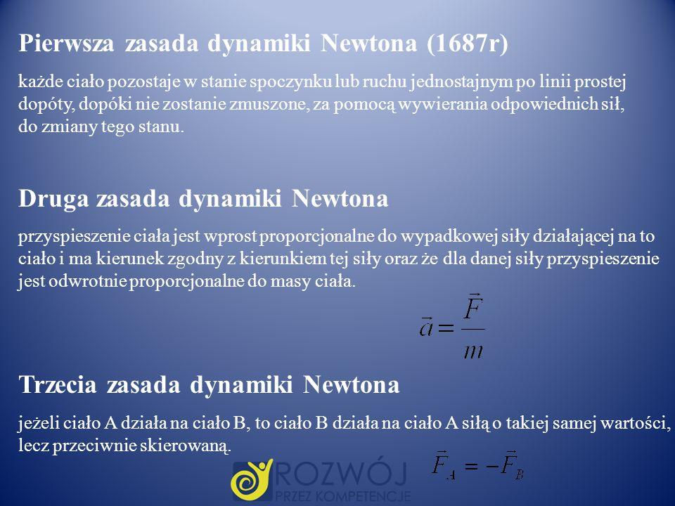 Pierwsza zasada dynamiki Newtona (1687r)