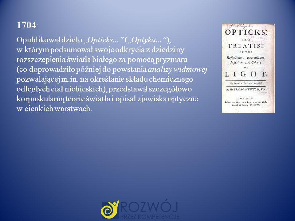 """1704: Opublikował dzieło """"Opticks... (""""Optyka... ),"""