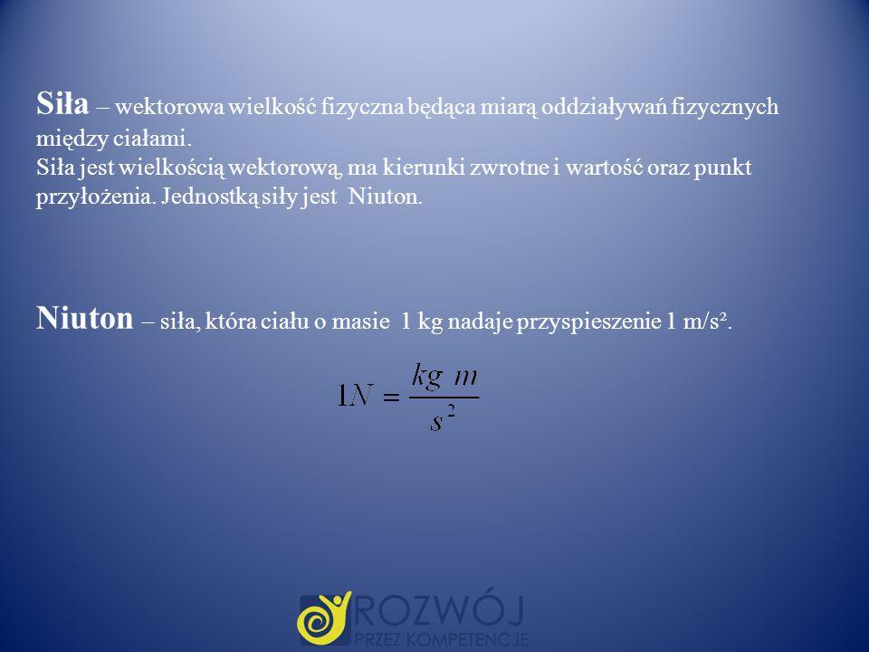 Niuton – siła, która ciału o masie 1 kg nadaje przyspieszenie 1 m/s².