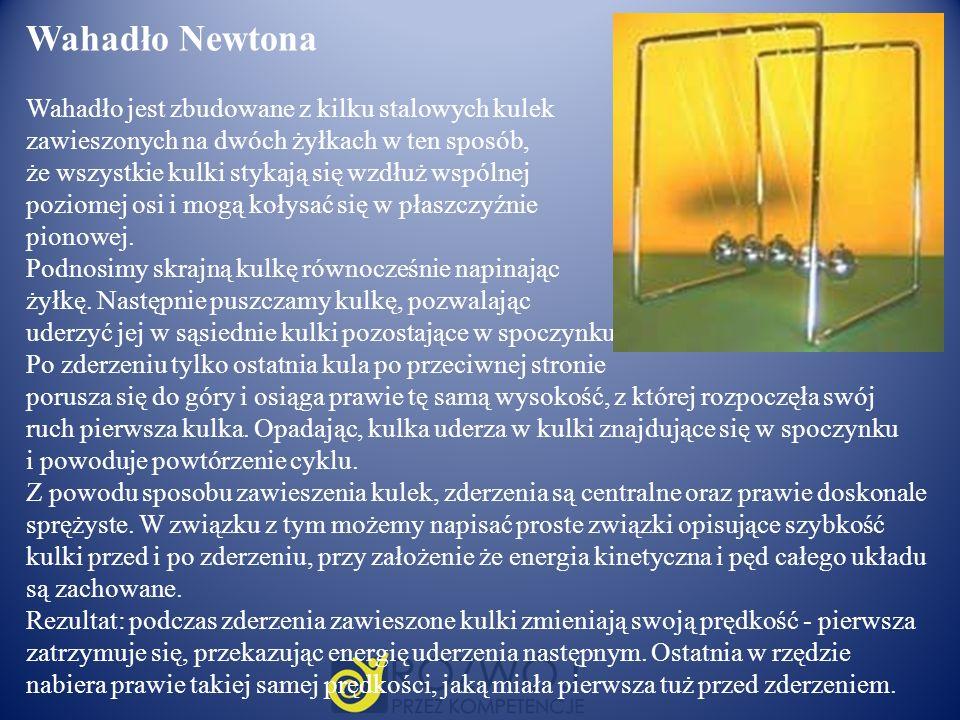 Wahadło Newtona Wahadło jest zbudowane z kilku stalowych kulek