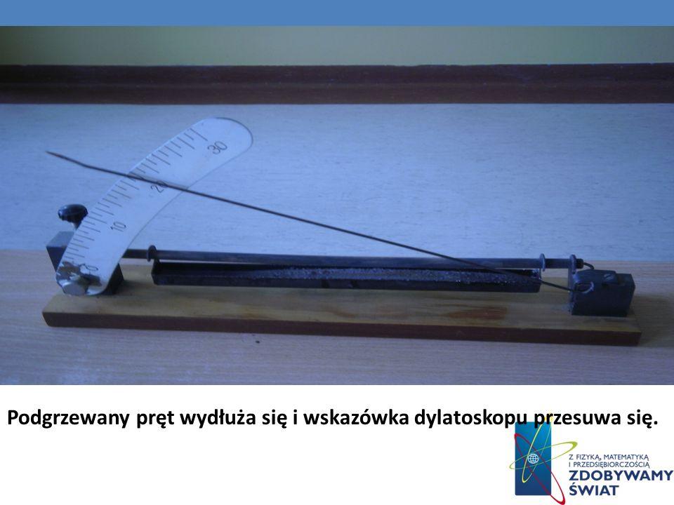 Podgrzewany pręt wydłuża się i wskazówka dylatoskopu przesuwa się.