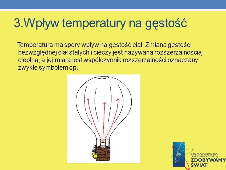 3.Wpływ temperatury na gęstość