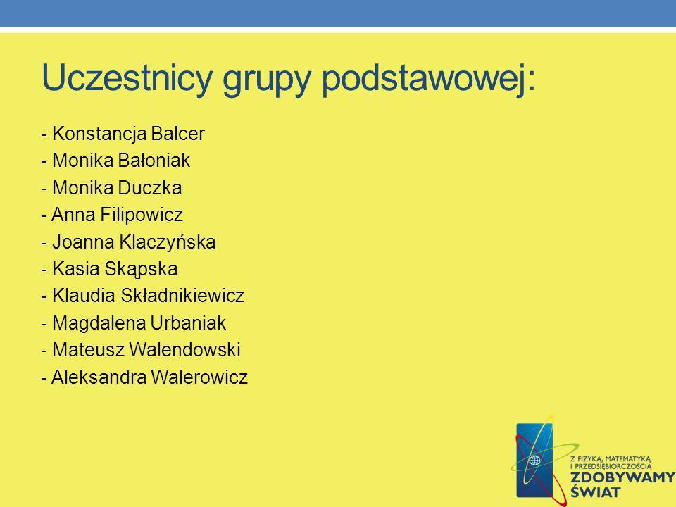 Uczestnicy grupy podstawowej:
