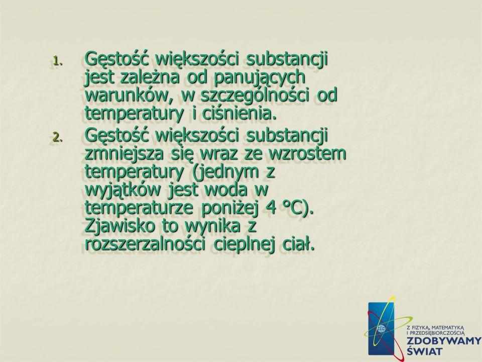 Gęstość większości substancji jest zależna od panujących warunków, w szczególności od temperatury i ciśnienia.