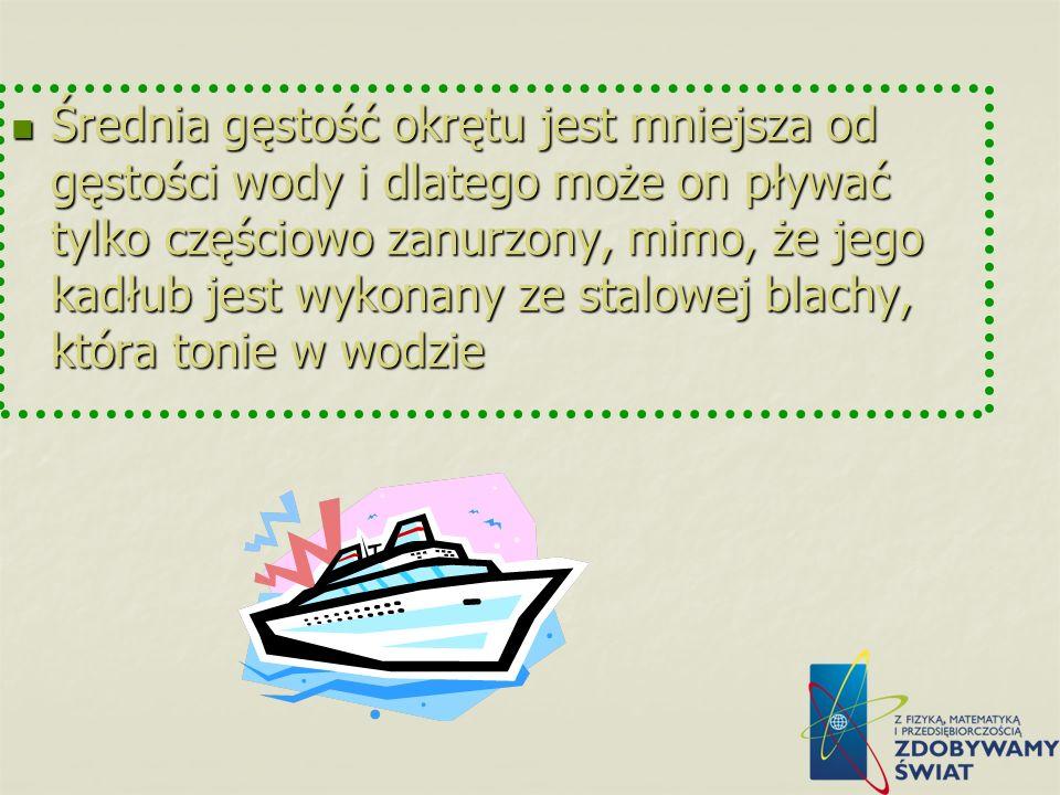 Średnia gęstość okrętu jest mniejsza od gęstości wody i dlatego może on pływać tylko częściowo zanurzony, mimo, że jego kadłub jest wykonany ze stalowej blachy, która tonie w wodzie
