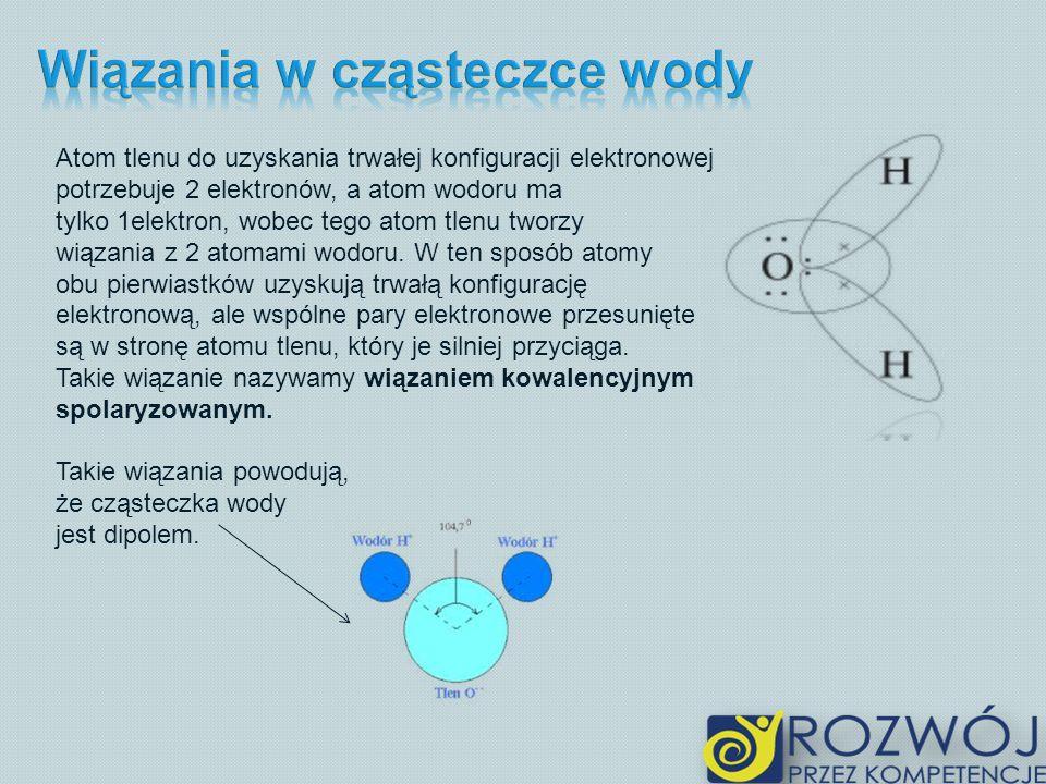 Wiązania w cząsteczce wody