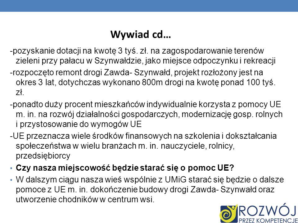 Wywiad cd… -pozyskanie dotacji na kwotę 3 tyś. zł. na zagospodarowanie terenów zieleni przy pałacu w Szynwałdzie, jako miejsce odpoczynku i rekreacji.