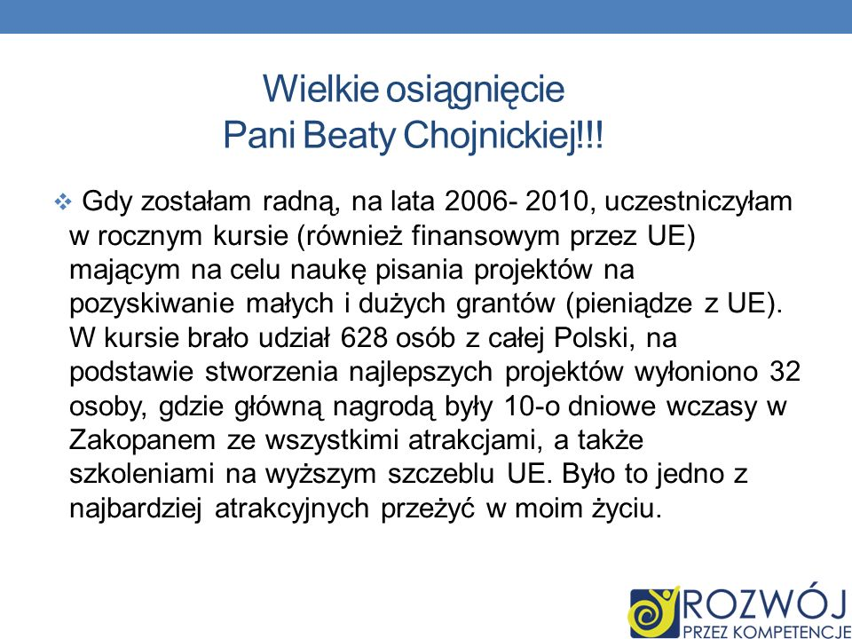Wielkie osiągnięcie Pani Beaty Chojnickiej!!!