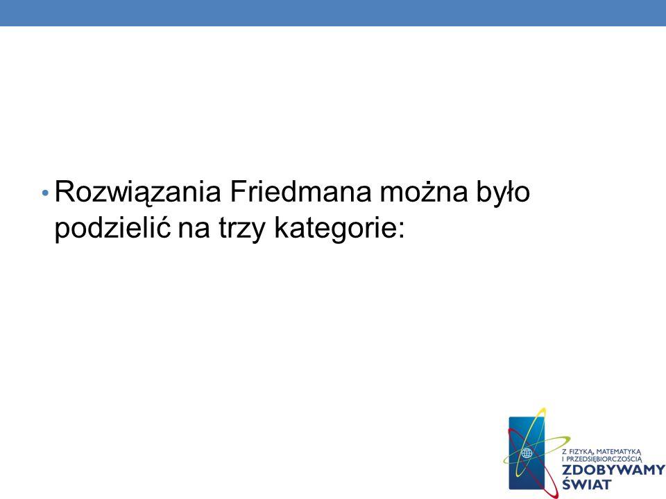 Rozwiązania Friedmana można było podzielić na trzy kategorie: