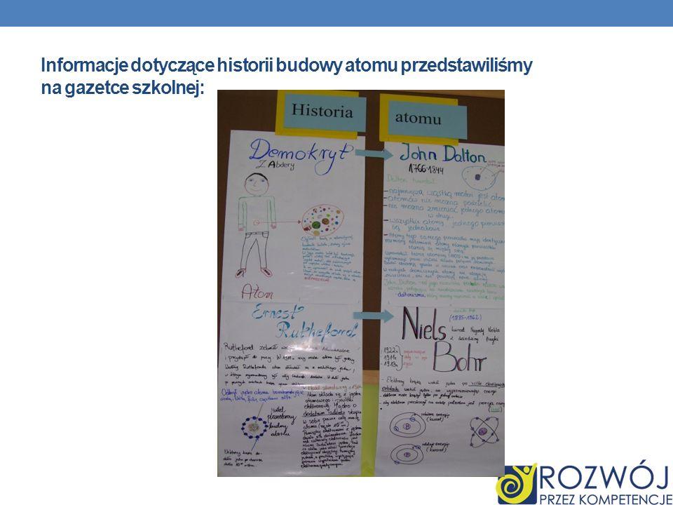 Informacje dotyczące historii budowy atomu przedstawiliśmy na gazetce szkolnej: