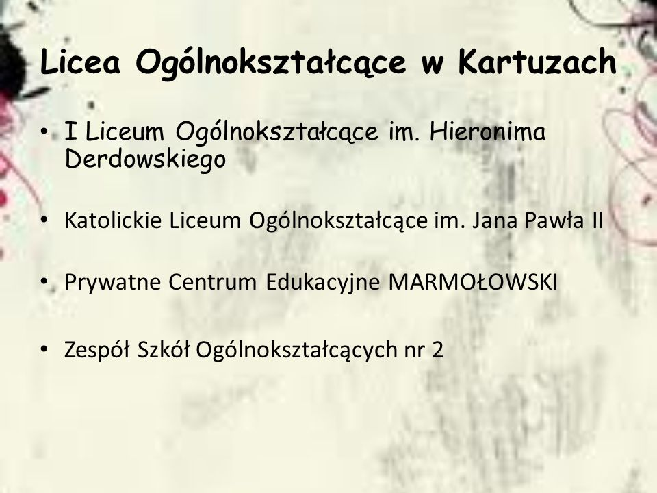 Licea Ogólnokształcące w Kartuzach