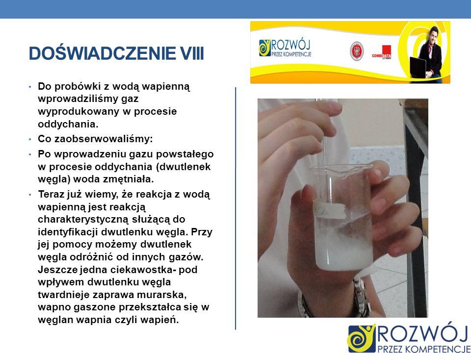 Doświadczenie VIII Do probówki z wodą wapienną wprowadziliśmy gaz wyprodukowany w procesie oddychania.