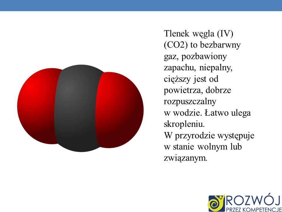 Tlenek węgla (IV) (CO2) to bezbarwny gaz, pozbawiony zapachu, niepalny, cięższy jest od powietrza, dobrze rozpuszczalny w wodzie.