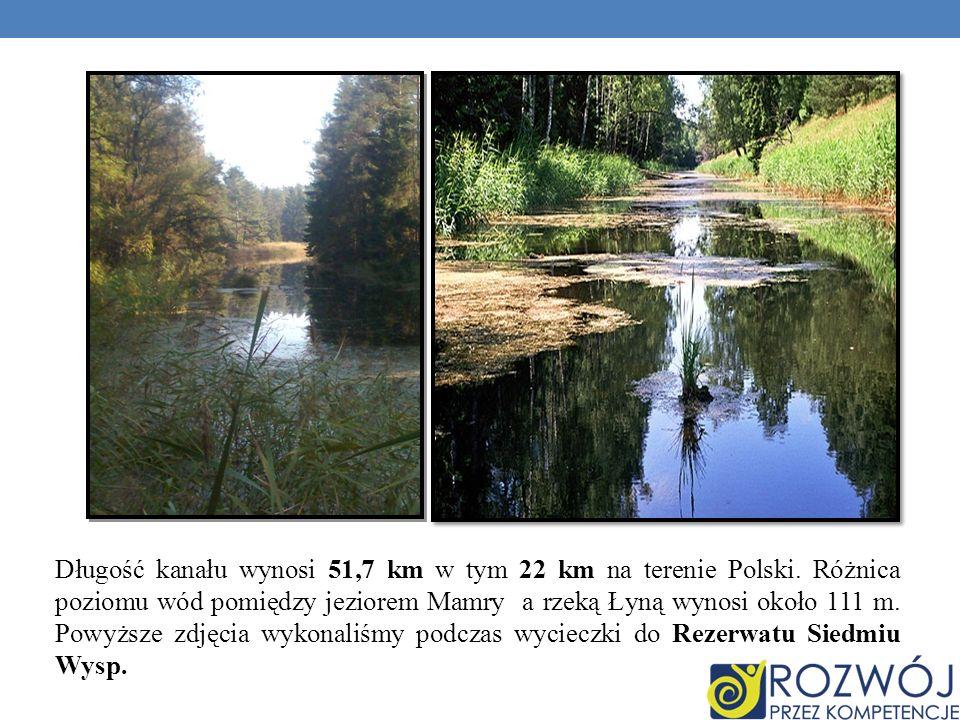 Długość kanału wynosi 51,7 km w tym 22 km na terenie Polski