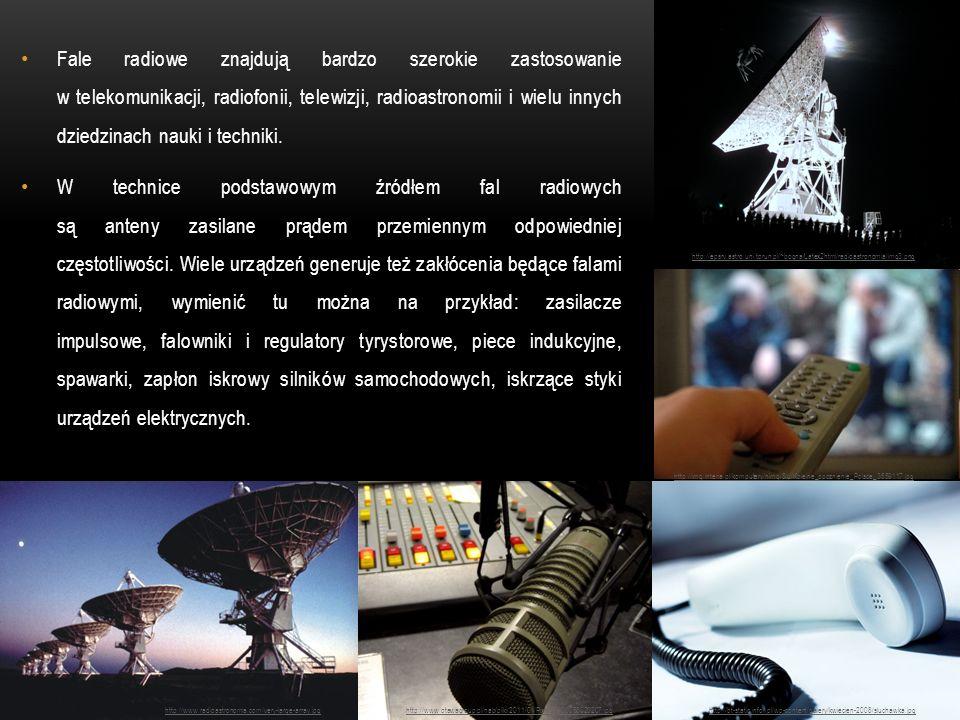 Fale radiowe znajdują bardzo szerokie zastosowanie w telekomunikacji, radiofonii, telewizji, radioastronomii i wielu innych dziedzinach nauki i techniki.