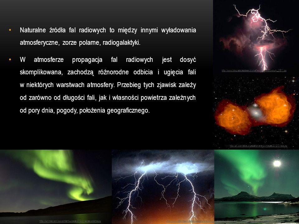 Naturalne źródła fal radiowych to między innymi wyładowania atmosferyczne, zorze polarne, radiogalaktyki.