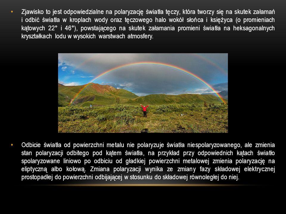 Zjawisko to jest odpowiedzialne na polaryzację światła tęczy, która tworzy się na skutek załamań i odbić światła w kroplach wody oraz tęczowego halo wokół słońca i księżyca (o promieniach kątowych 22° i 46°), powstającego na skutek załamania promieni światła na heksagonalnych kryształkach lodu w wysokich warstwach atmosfery.