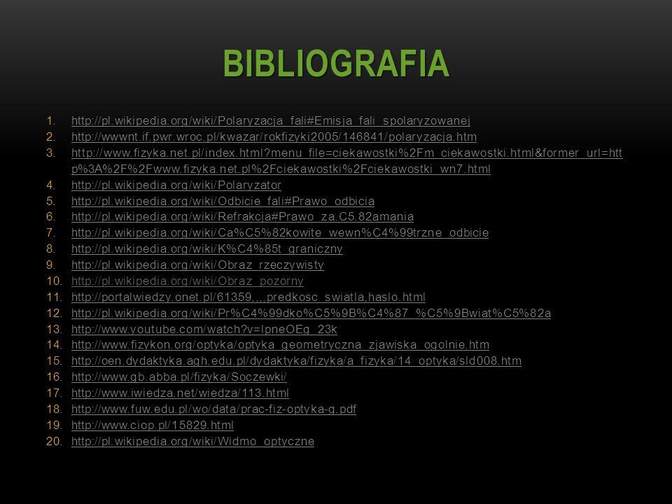 BIBLIOGRAFIA http://pl.wikipedia.org/wiki/Polaryzacja_fali#Emisja_fali_spolaryzowanej.