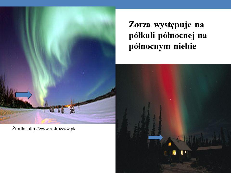 Zorza występuje na półkuli północnej na północnym niebie